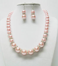 Pink Glass Pearl /w Rondelle Crystal Rhinestone Bead Necklace & Earrings Set