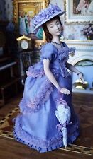 Miniature Dollhouse Artisan Porcelain Victorian Lady Doll Enameled flowers 1:12