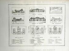vintage print /gravure 1889 Institut Chimique de Nancy ( Lorraine )