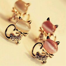 Korean Fashion Cute Cat Stone Crystal Rhinestone Stud Earrings