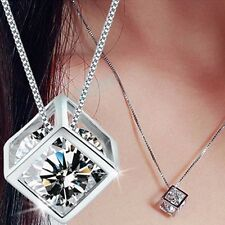 Fashion Women's 925 Sterling Silver Crystal Rhinestone Necklace Chain Pendant N