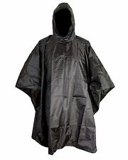 US ARMY STYLE PLAIN BLACK WATERPROOF HOODED RIPSTOP COMBAT MILITARY  ARMY PONCHO