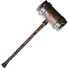 War Mallet, Hammer, LARP, Foam, Latex, Fantasy, Weapon, ORC, Giant, Wood Finish