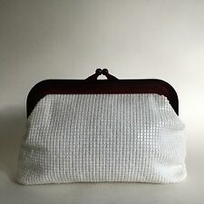 White 1960s Plasticised Fabric Evening Clutch Bag Celluloid Frame Fabric Lining