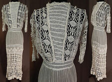Edwardian Vintage White Torchon Cluny Bobbin Lace Cotton Muslin Dress Tea Gown