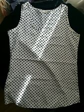 girl ladies top white and black spots size M/ L BNWOT