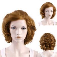 Light Brown short curly cos Front lace Marilyn Monroe High temperature silk wig