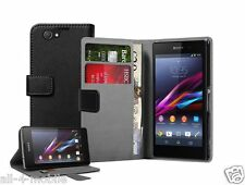 Wallet BLACK Leather case cover for Sony Xperia Z1 Compact D5503 experia