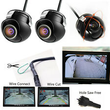 2x Car Rear Left Right Side Front View Reverse CCD 360° Camera 100% Waterproof
