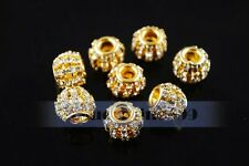 New 10pcs Crystal Rhinestone Charms Findings Spacer Loose European Beads 12mm