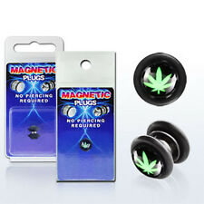 Fake Illusion Fake Piercing Magnetic Leaf Black Ear Pair Ear Gauge Plug New USA