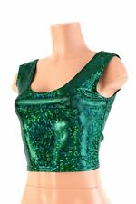 LARGE Green Shattered Glass Holographic Spandex Crop Tank Top Ready To Ship!
