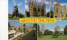Postcard  Wicken Mill , St Ives around the Fens  muti view unposted Salmon