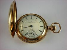 Antique 18s Illinois pocket watch made 1890. Beautiful gold filled Hunter case