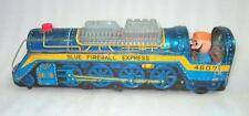 Vintage Old Battery Operated Blue Fireball Express 4607 Engine Tin Toy Japan