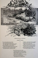 Kidson  - Christmas Chimes POETRY Winter Cottage 1883 Antique Engraving Matted
