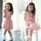 Pinks Baby Girls Princess Dresses Party Spring 3D Heart Tulle Tutu Dress 2-7Y