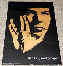 LIVE LONG AND PROSPER SPOCK Star Trek Poster 1970's Celestial Arts SP81 Nimoy