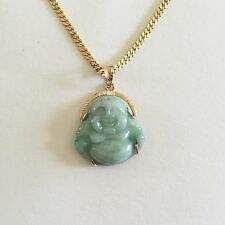 18K Yellow Gold Happy Laughing Buddha Jade Pendant - P309
