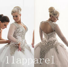 Sexy Custom Plus Size Wedding Dresses Long Sleeves Ball Gown Beading Bridal Gown