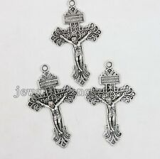 5pcs Antique Silver Jesus Cross Charms Alloy Pendant Jewelry Findings Making J