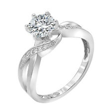 1.10 CT Engagement Infinity Ring Round Brilliant Cut Real 14k White Gold