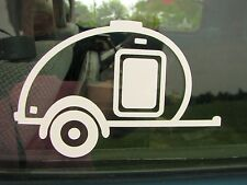 Teardrop camper or teardrop trailer car window vinyl decal.