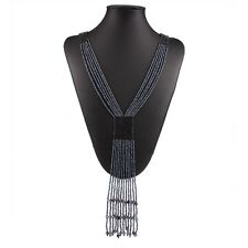 Blue Multi Strand Measle Beads Chain Y-Shaped Tassel Pendant Necklace