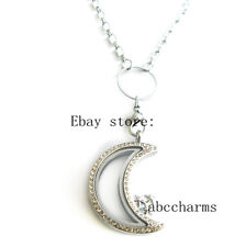 (new style)Crystal Moon floating charm locket + necklace rolo chain 24""
