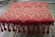 Antique PORTIERE Jacquard Weave Red Gold Elaborate Hand Tied FRINGE