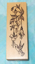 PSX G-2007 Hummingbird flowers rubber stamp Fuchsia floral leaves stems mounted