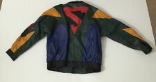 Vintage 80s 90s SUPERMAN Color Block Leather Jacket Size S