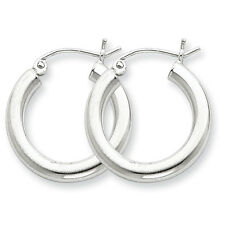 925 Sterling Silver Rhodium Plated 3mm x 20mm Round Polished Hoop Earrings
