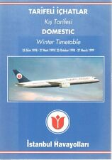 ISTANBUL AIRLINES TIMETABLE WINTER 1998/99