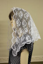 White veil mantilla Catholic church chapel scarf lace headcovering Mass WBB