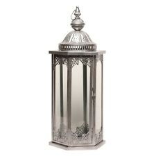 Large Tall Silver Moroccan Lantern 55cm with Embossed Detailing
