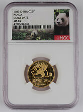 1989 China 25 Yuan 1/4 Troy Oz 999 Gold Panda Coin NGC MS69 Large Date LD GEM BU