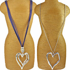 Two different styles silver big large heart pendant fashion jewellery necklace