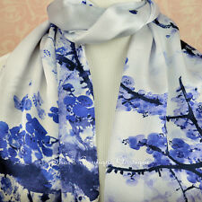 100% Real Genuine Pure Mulberry Silk Long Scarf Floral Blue Shawl Wrap Stole New