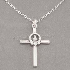 "CELTIC CLADDAGH CROSS Irish Heart LOVE 925 Pendant STERLING SILVER 18"" Necklace"