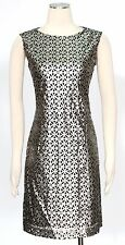 Tahari Silver Size 8 Cocktail Faux Leather Metallic Laser Cut Shift Dress New*
