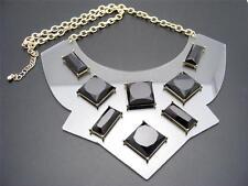 $24 Panacea Clear Lucite Bib Black Cabochon Statement Necklace Goldtone Chain