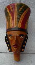 UNUSUAL RARE VINTAGE MINIATURE CARVED WOODEN  BOTTLE TOP OPTIC  AZTEC INDIAN