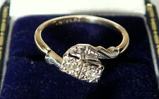 Antique Art Deco Platinum Diamond Crossover 9ct Ring