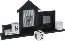 "Black Photo Frame with Perpetual Calendar and Tea Light Holder 4""x6"" 3""x3"" Frame"