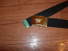 MILITARY STYLE BLACK WEB BELT WITH NAVY SEALS GOLD INSIGNIA BRASS BUCKLE