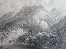 EAUX-BONNES dans les PYRENEES GRAVURE ORIGINALE d'aprés T.ALLOM XIXéme