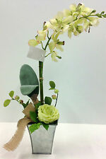 "Vanda Cream/Green Orchid w/Rose Potted~20"" T.Silver  Container. Artificial."