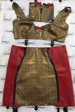 "Rubber Latex Burlesque PRINTED Girdle/Bra and Mitts set RED/GOLD 12 UK 36"" Bra"