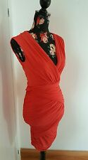 bcbg maxazria rushed orange dress size xs uk 6-8 eu 34-36